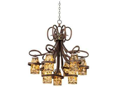 Kalco Lighting Monaco Nine-Light 33'' Wide Chandelier Antique Copper / 1540 - 6023AC-PEARL