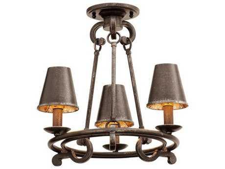 Kalco Lighting Fairford Vintage Iron Three-Light Semi-Flush Mount Light