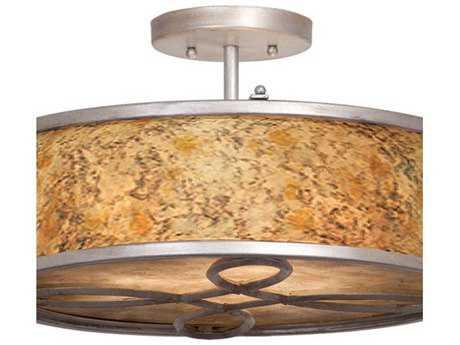 Kalco Lighting Whitfield Three-Light Semi-Flush Mount Light Antique Copper - 6578AC