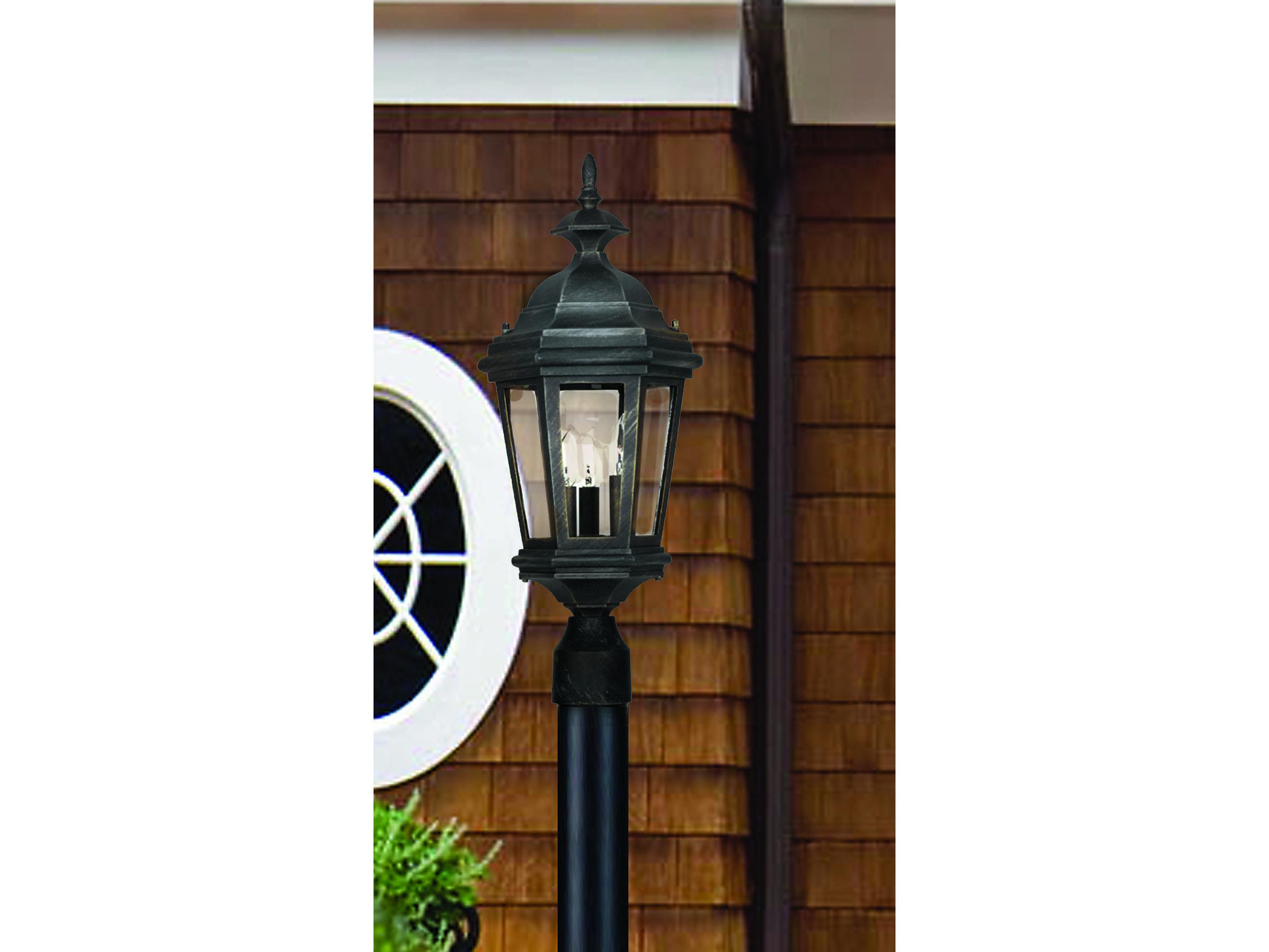 Kenroy Home Estate Black Three Light Outdoor Post Lantern 16316bl