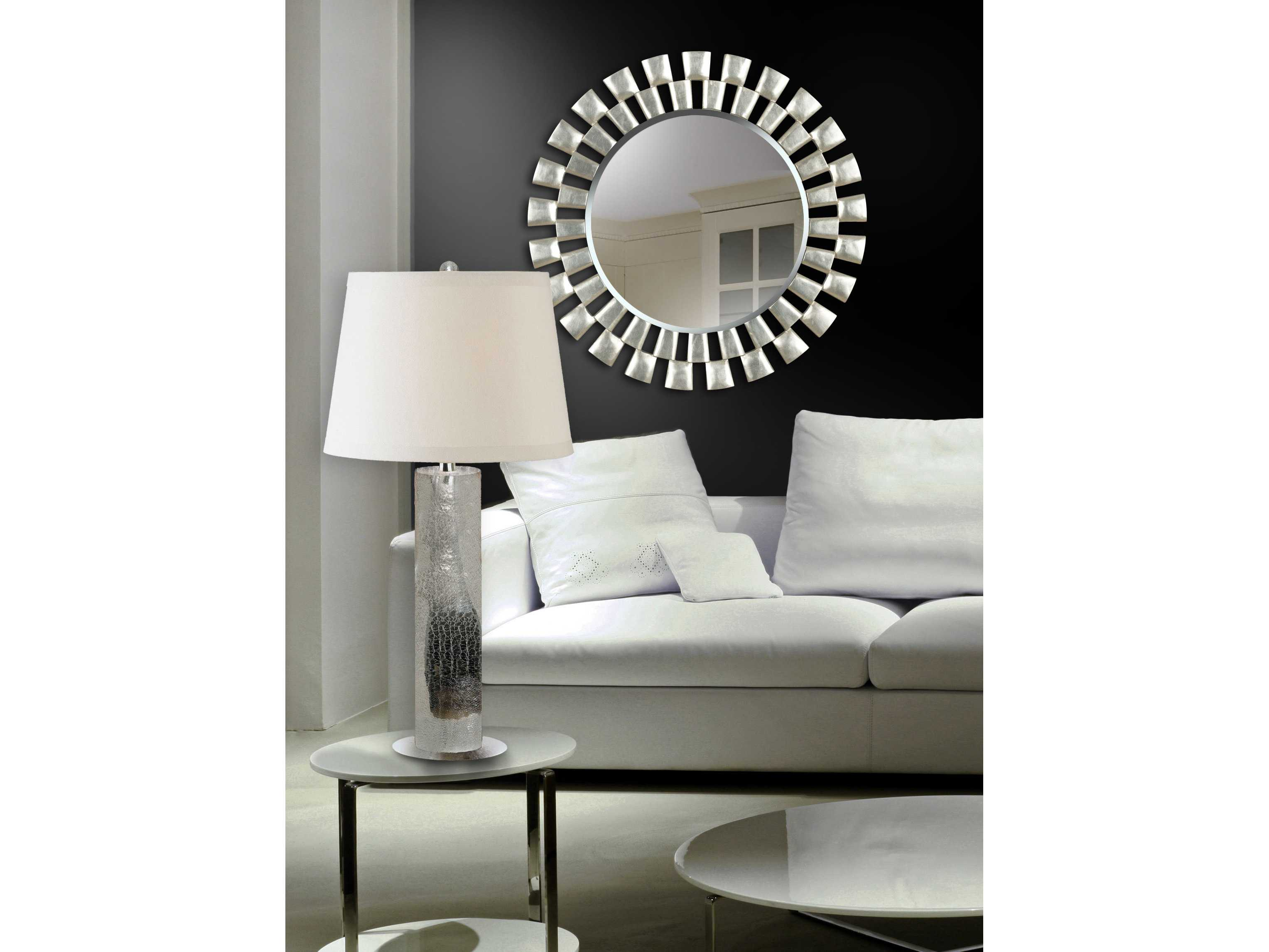 Kenroy home gilbert 36 round silver wall mirror 60019 for Round silver wall mirror