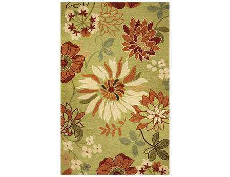 KAS Meridian Transitional Green Hand Made Synthetic Floral/Botanical 3'3
