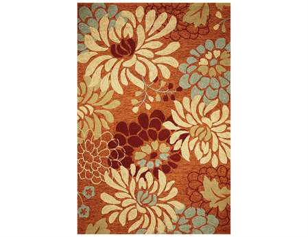 KAS Meridian Transitional Orange Hand Made Synthetic Floral/Botanical 3'3