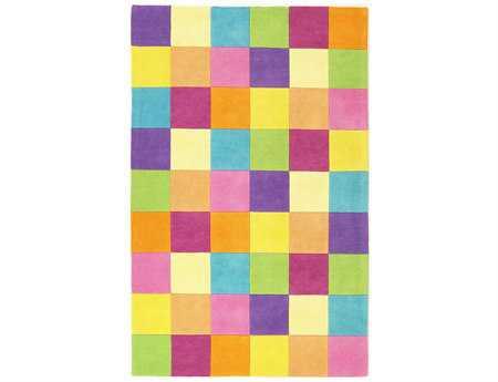 KAS Kidding Around Modern Yellow Hand Made Wool Geometric 2' x 3' Area Rug - KID04202X3