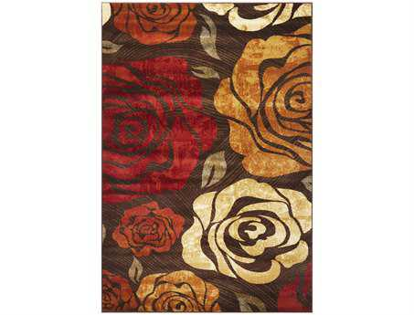 KAS Lifestyles Transitional Brown Machine Made Synthetic Floral/Botanical 1'11