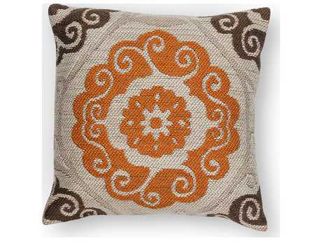 Kas Rugs Ivory & Brown Square Pillow 18'' x 18'' - PILL23118SQ