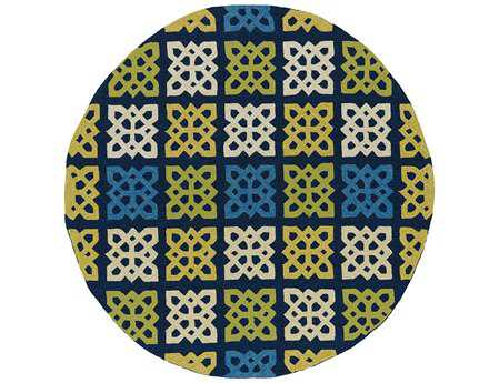 Kaleen Home And Porch Modern Blue Hand Made Synthetic Geometric Round 5'9