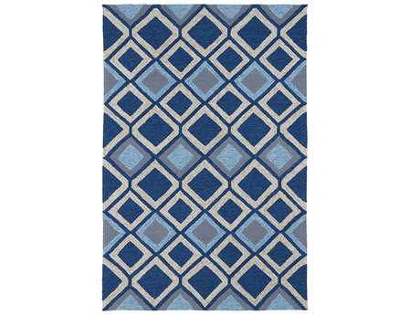 Kaleen Home And Porch Modern Blue Hand Made Synthetic Geometric 2' x 3' Area Rug - 2033-17-23