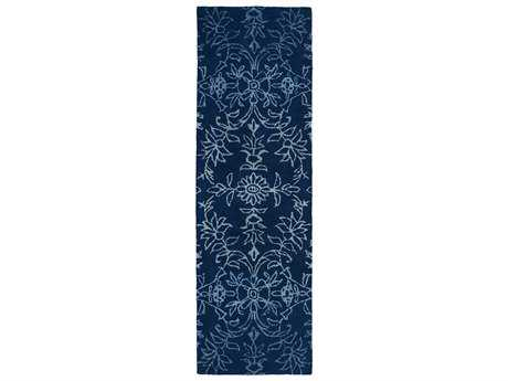 Kaleen Divine Modern Blue Hand Made Wool Floral/Botanical Area Rug- DIV01-17-RUN
