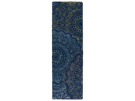 Kaleen Divine Modern Blue Hand Made Wool Floral/Botanical Area Rug- DIV03-22-RUN