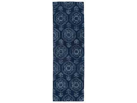 Kaleen Divine Transitional Blue Hand Made Wool Damask Area Rug- DIV07-22-RUN