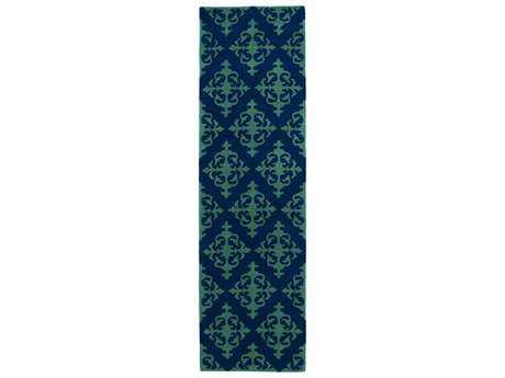 Kaleen Evolution Traditional Blue Hand Made Wool Damask Area Rug- EVL05-22-RUN