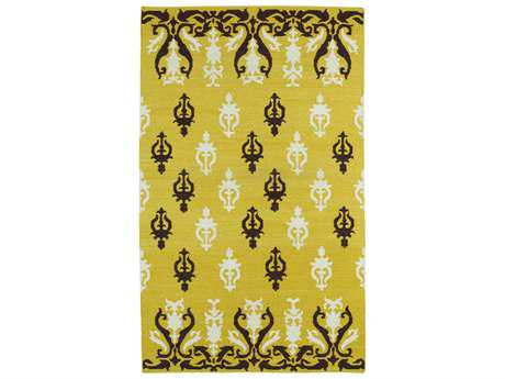 Kaleen Glam Modern Yellow Hand Made Wool Floral/Botanical 2' x 3' Area Rug - GLA04-28-23