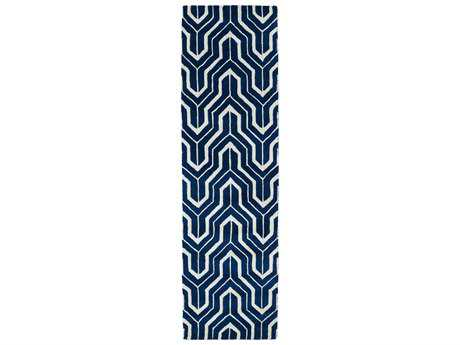 Kaleen Revolution Modern Blue Hand Made Wool Geometric Area Rug- REV01-22-RUN