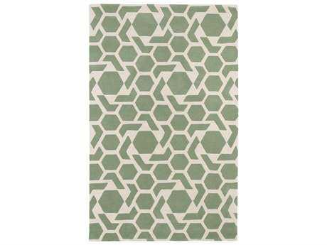 Kaleen Revolution Modern Green Hand Made Wool Geometric 2' x 3' Area Rug - REV05-88-23