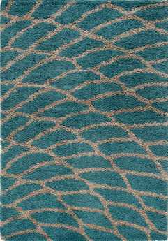 Kalora Shaggy Modern Teal Machine Made Synthetic Abstract 5'3