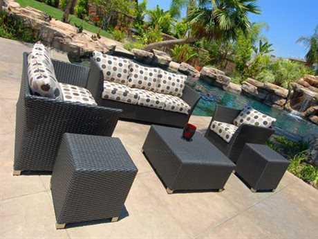 Koverton Soho Wicker 6 Person Cushion Conversation Patio Lounge Set