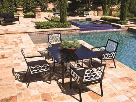 Koverton Parkview Cast Cast Aluminum 4 Person Cushion Casual Patio Dining Set