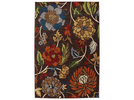 Karastan Intermezzo Transitional Brown Machine Made Synthetic Floral/Botanical 2'11'' x 4'8'' Area Rug - 90161-80057-035056