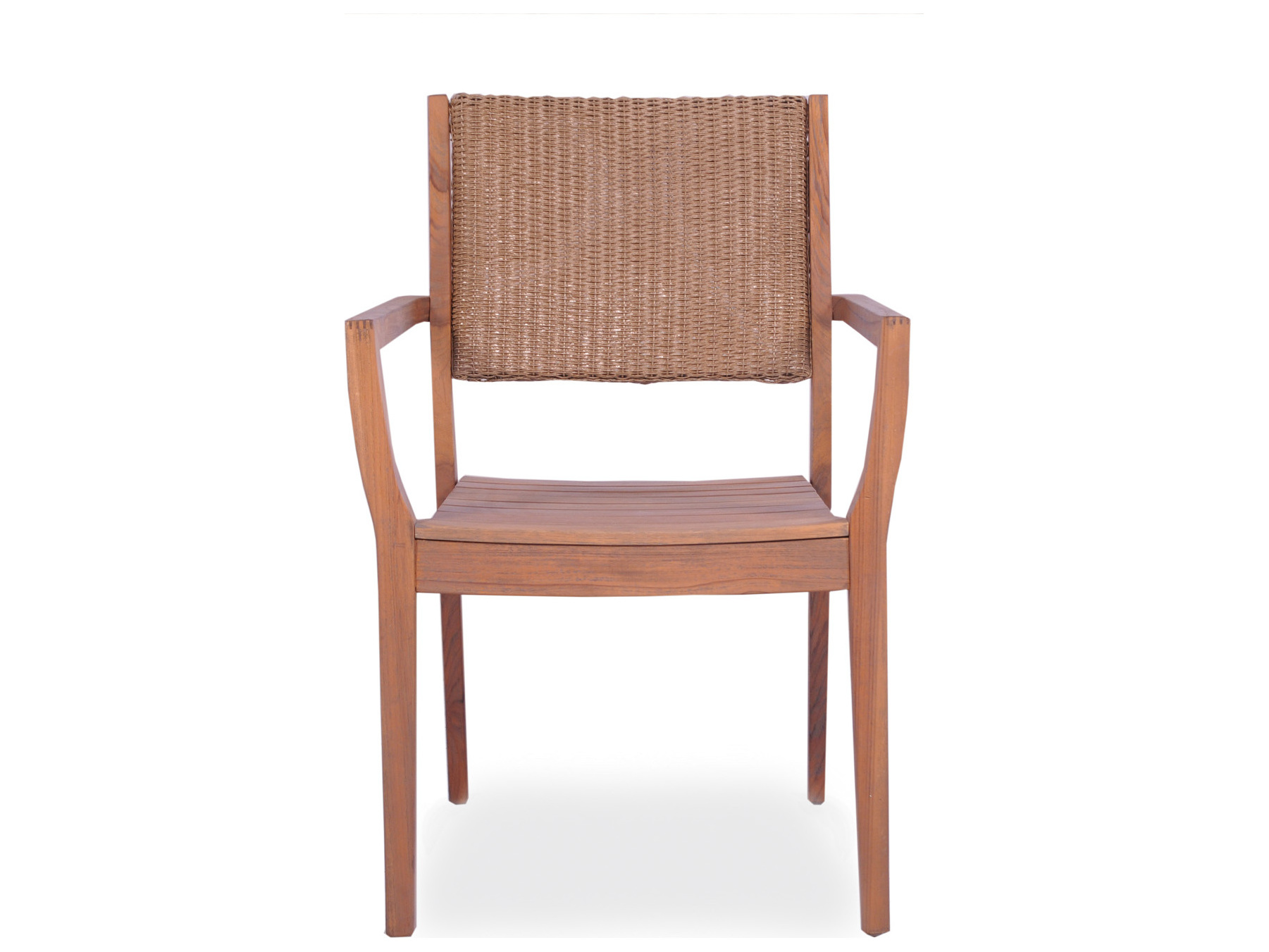 Lloyd Flanders Teak Dining Arm Chair with Loom Back