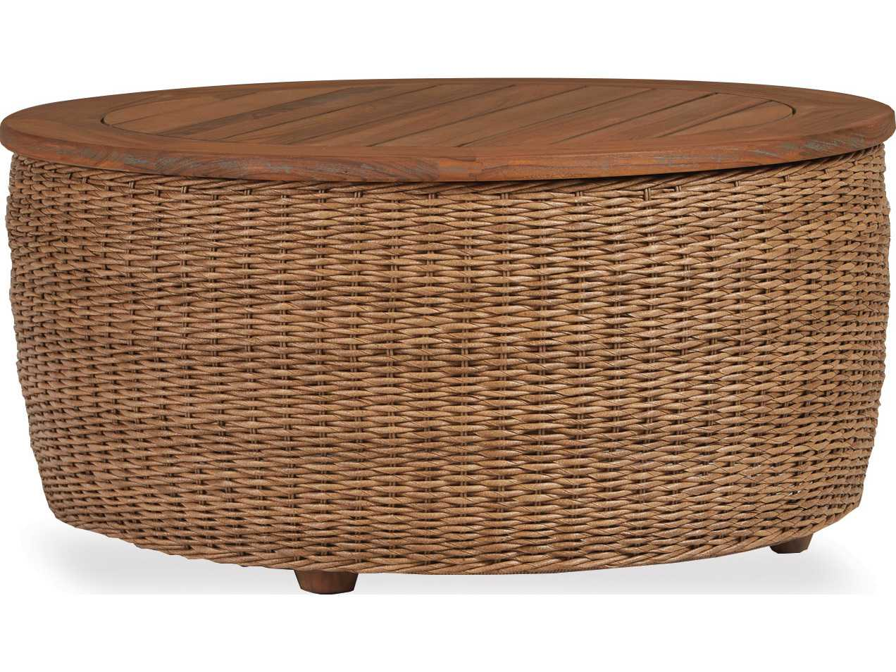 Lloyd Flanders Tobago Wicker 36 39 39 Round Cocktail Table With Antiqued Teak Top 426044