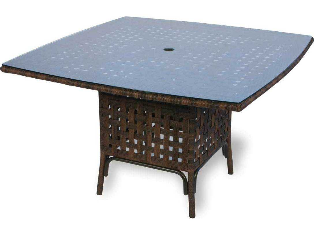 Haven Wicker 48 39 39 Square Dining Table With Umbrella Hole 43048
