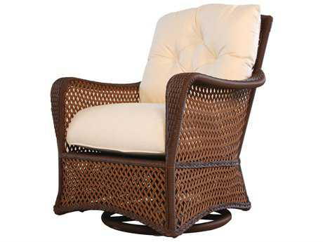 Lloyd Flanders Grand Traverse Wicker Cushion Arm Swivel Rocker Lounge Chair