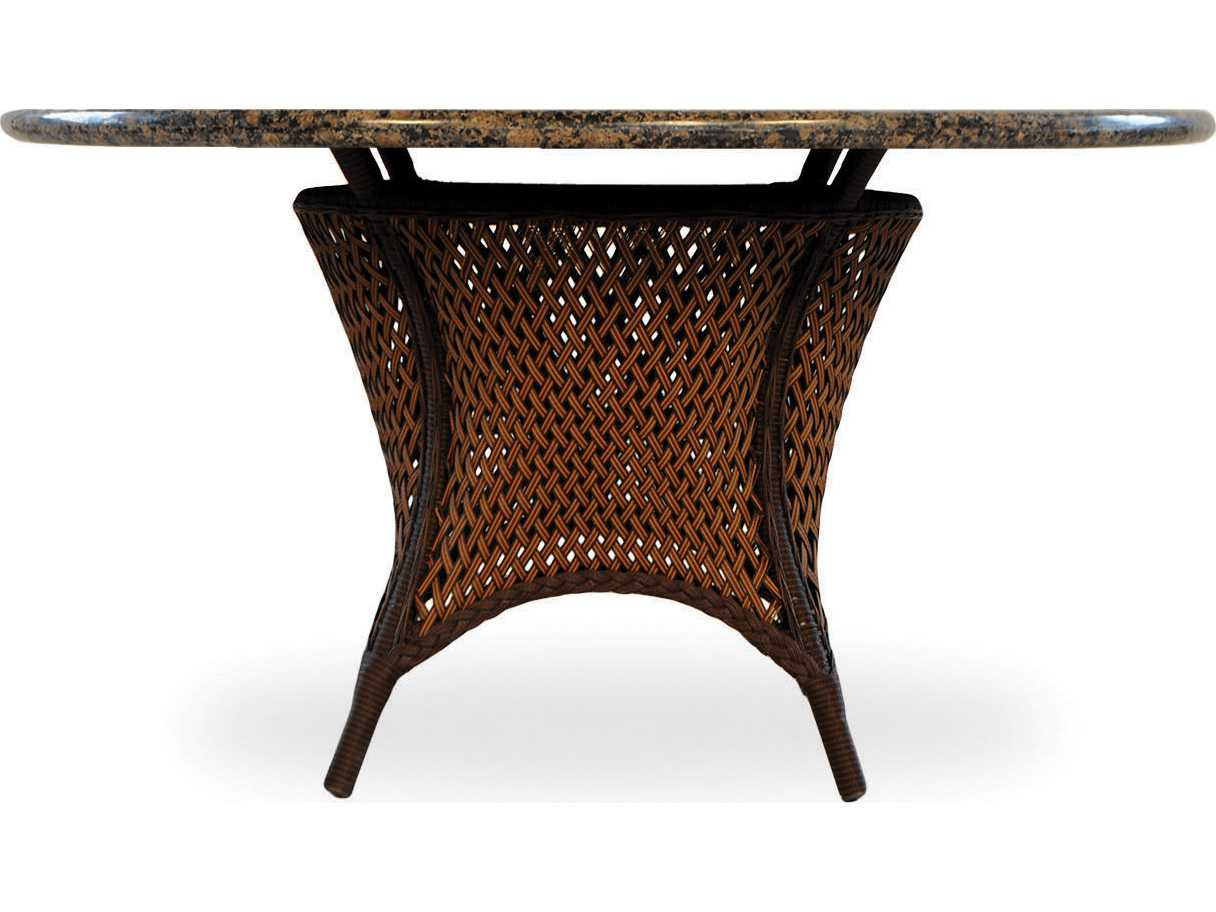 flanders grand traverse wicker 48 39 39 round dining table with stone