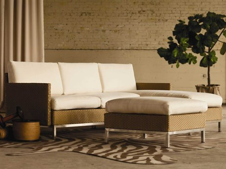 Lloyd Flanders Elements Wicker 3 Person Cushion Sectional Patio Lounge Set