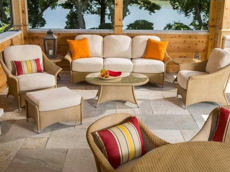 Lloyd Flanders Generations Wicker 5 Person Cushion Conversation Patio Lounge Set