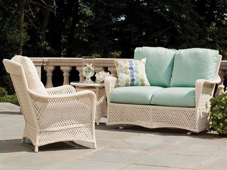 Lloyd Flanders Grand Traverse Wicker 3 Person Cushion Conversation Patio Lounge Set