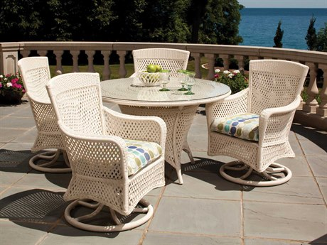 Lloyd Flanders Grand Traverse Wicker 4 Person Cushion Casual Patio Dining Set