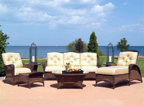 Lloyd Flanders Grand Traverse Wicker 5 Person Cushion Conversation Patio Lounge Set
