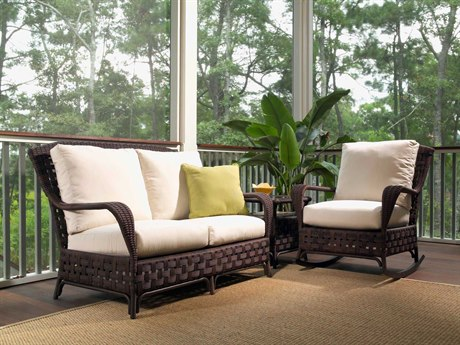 Lloyd Flanders Haven Wicker 3 Person Cushion Conversation Patio Lounge Set