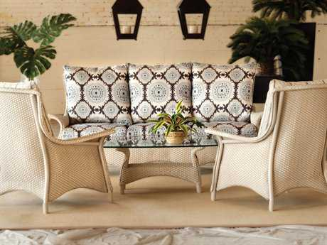 Lloyd Flanders Mandalay Wicker 5 Person Cushion Conversation Patio Lounge Set