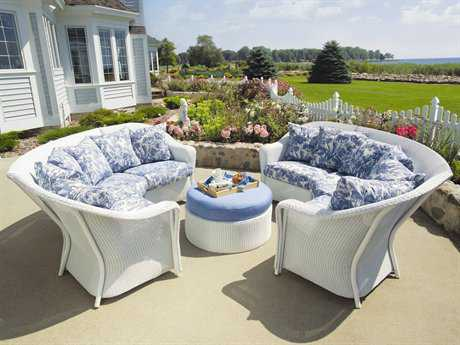Lloyd Flanders Reflections Wicker 5 Person Cushion Sectional Patio Lounge Set
