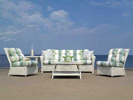 Lloyd Flanders Reflections Wicker 5 Person Cushion Conversation Patio Lounge Set