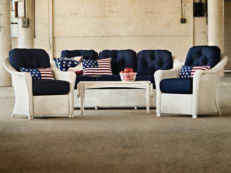 Lloyd Flanders Reflections Wicker 6 Person Cushion Conversation Patio Lounge Set
