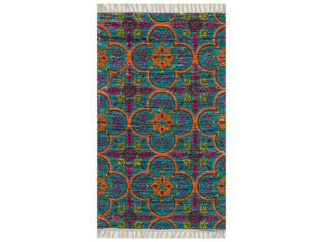 Loloi Aria Transitional Blue Flatweave Cotton Floral/Botanical 1'8'' x 3'0'' Area Rug - ARIAHAR13BBOR1830