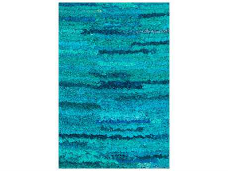 Loloi Eliza Shag Teal Hand Made Synthetic Geometric 2'3'' x 3'9'' Area Rug - ELIZEI-01AQ002339
