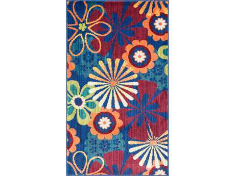 Loloi Isabelle Modern Blue Machine Made Synthetic Floral/Botanical 1'7'' x 2'6'' Area Rug - ISBEHIS01BBML1726