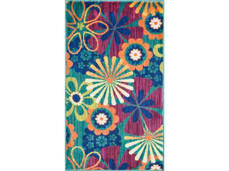 Loloi Isabelle Modern Teal Machine Made Synthetic Floral/Botanical 1'7'' x 2'6'' Area Rug - ISBEHIS01TEML1726