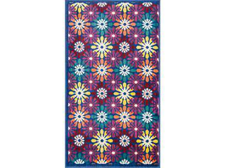 Loloi Isabelle Modern Blue Machine Made Synthetic Floral/Botanical 1'7'' x 2'6'' Area Rug - ISBEHIS06BBML1726