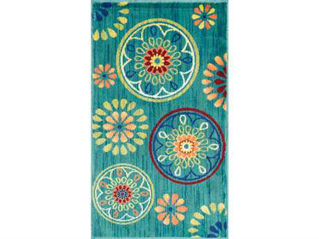 Loloi Isabelle Modern Teal Machine Made Synthetic Floral/Botanical 1'7'' x 2'6'' Area Rug - ISBEHIS08TEML1726