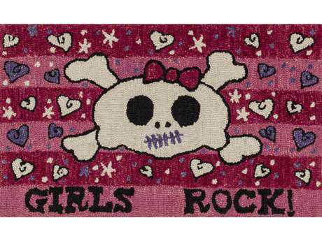 Loloi Skylar Transitional Pink Hand Made Wool Graphic Area Rug - HSK06-PI-REC