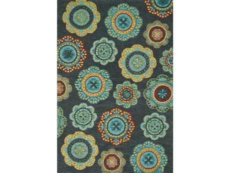 Loloi Taylor Transitional Teal Hand Made Wool Floral/Botanical 3'6'' x 5'6'' Area Rug - TAYLHTY07MDTE3656