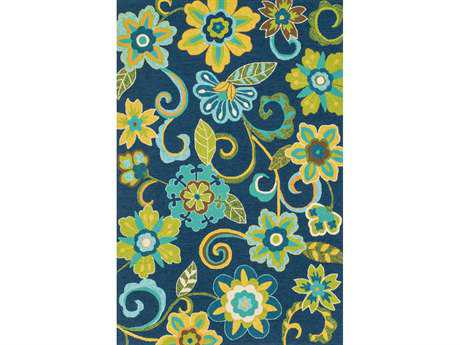Loloi Ventura Transitional Blue Hand Made Synthetic Floral/Botanical 2'3'' x 3'9'' Area Rug - VENTHVT10BBGR2339
