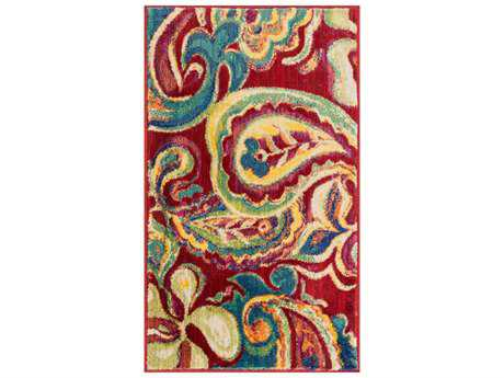 Loloi Isabelle Transitional Red Machine Made Synthetic Paisley 1'7'' x 2'6'' Area Rug - ISBEHIS10REML1726