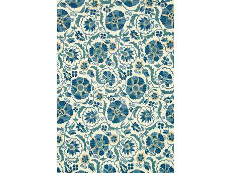 Loloi Mayfield Transitional Blue Hand Made Wool Floral/Botanical 3'6'' x 5'6'' Area Rug - MAYFMF-10IVBB3656