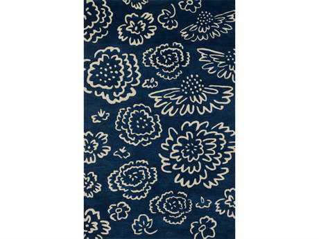 Loloi Nova Modern Blue Hand Made Wool Floral/Botanical 3'6'' x 5'6'' Area Rug - NOV0NV-06NVIV3656